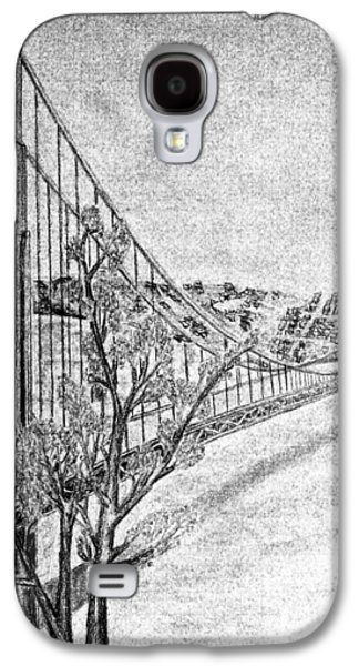 Suspension Drawings Galaxy S4 Cases - Golden Gate Bridge Galaxy S4 Case by Irving Starr