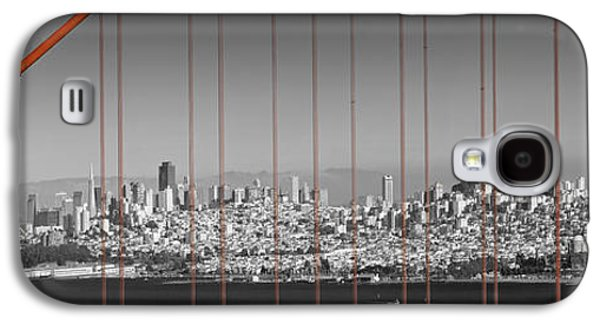 Horizontal Digital Art Galaxy S4 Cases - Golden Gate Bridge Panoramic Downtown View Galaxy S4 Case by Melanie Viola