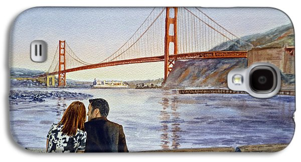 San Francisco Bay Galaxy S4 Cases - Golden Gate Bridge San Francisco - Two Love Birds Galaxy S4 Case by Irina Sztukowski