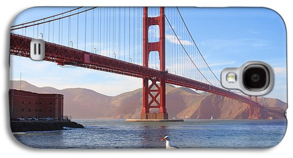 Connect Photographs Galaxy S4 Cases - Golden Gate Seagull Galaxy S4 Case by Inge Johnsson
