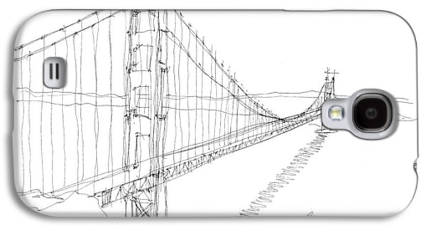Suspension Drawings Galaxy S4 Cases - Golden Gate Sketch Galaxy S4 Case by Calvin Durham