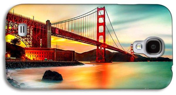 Famous Bridge Galaxy S4 Cases - Golden Gateway Galaxy S4 Case by Az Jackson