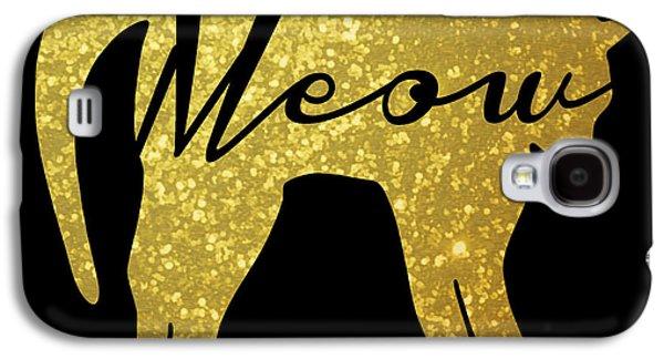 Golden Glitter Cat - Meow Galaxy S4 Case by Pati Photography