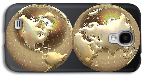 Ultra Modern Galaxy S4 Cases - Golden Globes - Eastern and Western Hemispheres on Black Galaxy S4 Case by Serge Averbukh