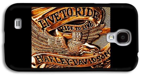 Golden Harley Davidson Logo Galaxy S4 Case by Chris Berry