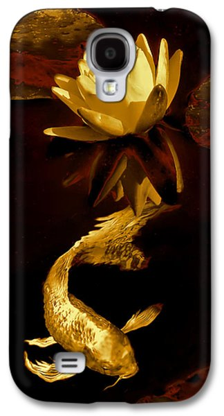 Fish Pond Galaxy S4 Cases - Golden Koi Fish and Water Lily Flower Galaxy S4 Case by Jennie Marie Schell