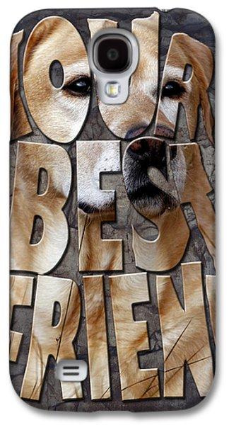 Labrador Digital Galaxy S4 Cases - Golden Labrador Retriever Typography art Galaxy S4 Case by Georgeta Blanaru