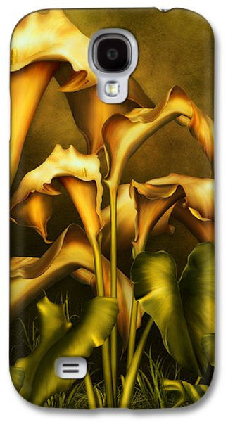 Realism Mixed Media Galaxy S4 Cases - Golden Lilies By Night Galaxy S4 Case by Georgiana Romanovna