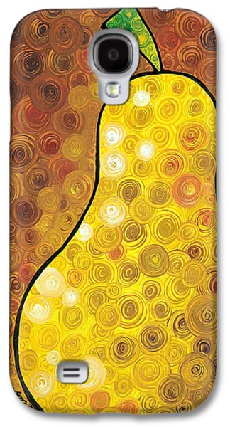 Abstract Art Canvas Paintings Galaxy S4 Cases - Golden Pear Galaxy S4 Case by Sharon Cummings