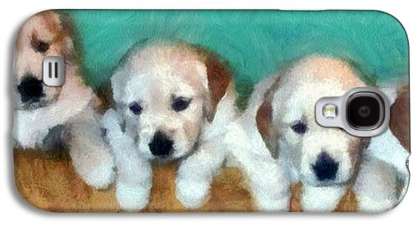 Dogs Digital Art Galaxy S4 Cases - Golden Puppies Galaxy S4 Case by Michelle Calkins