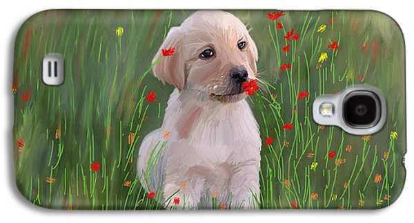 Saving Paintings Galaxy S4 Cases - Golden Retriever Puppy  Galaxy S4 Case by Angela A Stanton