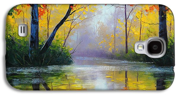 Autumn Paintings Galaxy S4 Cases - Golden River Galaxy S4 Case by Graham Gercken
