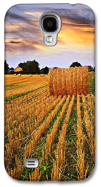 Bale Galaxy S4 Cases - Golden sunset over farm field in Ontario Galaxy S4 Case by Elena Elisseeva