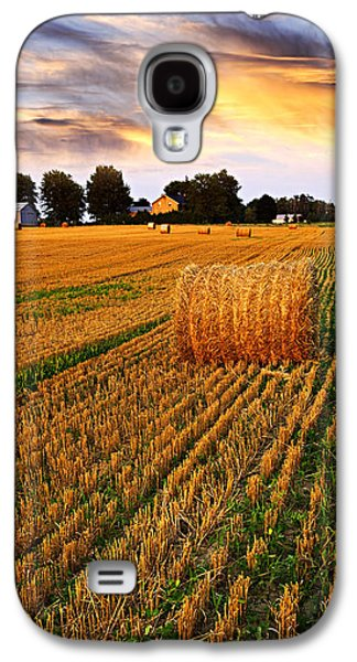 Bale Galaxy S4 Cases - Golden sunset over farm field with hay bales Galaxy S4 Case by Elena Elisseeva