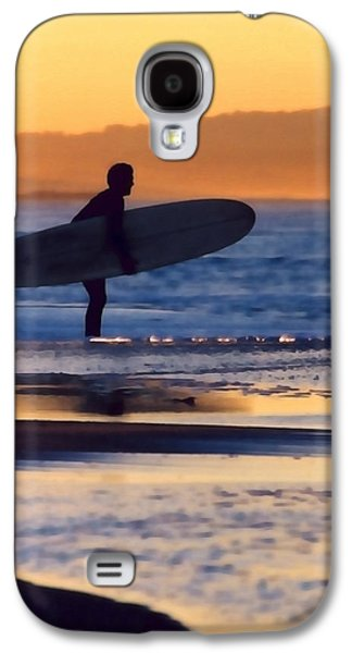 Surf Silhouette Galaxy S4 Cases - Golden Surfer Galaxy S4 Case by Art Block Collections
