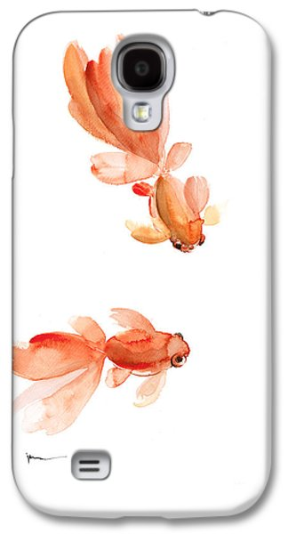 Goldfish Mixed Media Galaxy S4 Cases - Goldfish art print watercolor painting Galaxy S4 Case by Joanna Szmerdt