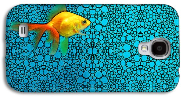 Fish Mixed Media Galaxy S4 Cases - Goldfish Study 3 - Stone Rockd Art By Sharon Cummings Galaxy S4 Case by Sharon Cummings