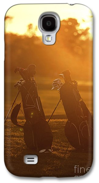 Sports Photographs Galaxy S4 Cases - Golf bags at sunset Galaxy S4 Case by Diane Diederich