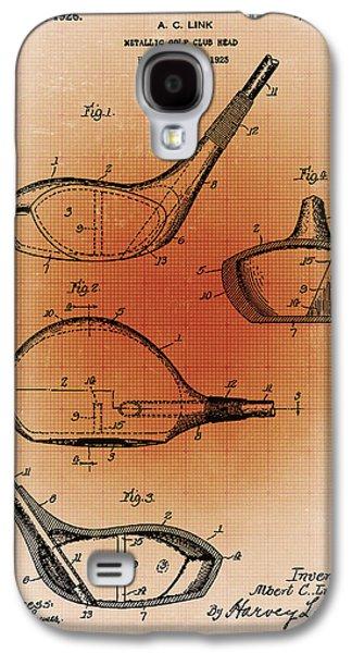 Sepia Chalk Galaxy S4 Cases - Golf Club Patent Blueprint Drawing Sepia Galaxy S4 Case by Tony Rubino