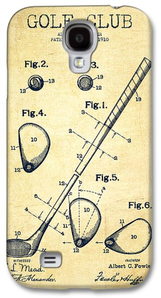 Distress Galaxy S4 Cases - Golf Club Patent Drawing From 1910 - Vintage Galaxy S4 Case by Aged Pixel