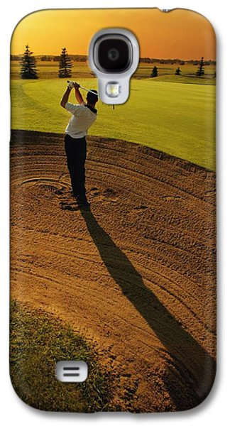 Sports Photographs Galaxy S4 Cases - Golfer Taking A Swing From A Golf Bunker Galaxy S4 Case by Darren Greenwood