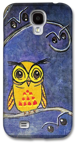 Animation Paintings Galaxy S4 Cases - Good Night Already - Little Hoot Owl Galaxy S4 Case by Ella Kaye Dickey