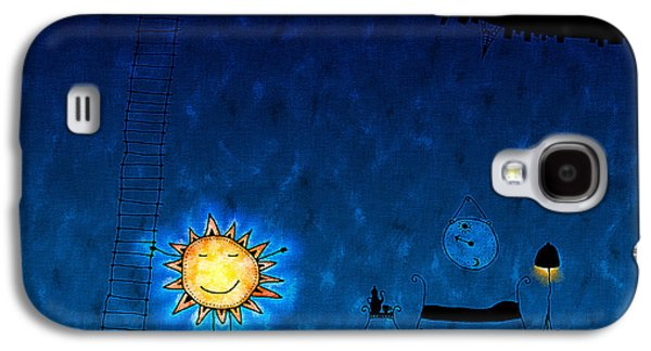 Abstract Digital Digital Galaxy S4 Cases - Good Night Sun Galaxy S4 Case by Gianfranco Weiss