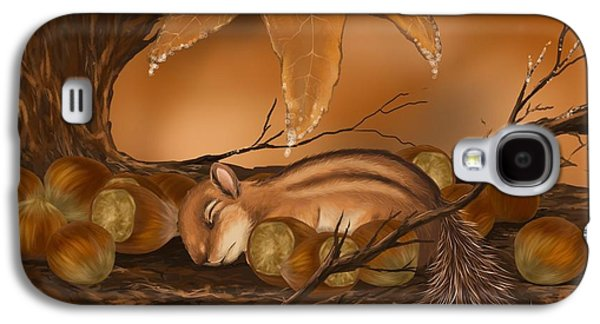 Fantasy Tree Paintings Galaxy S4 Cases - Goodnight baby squirrel Galaxy S4 Case by Veronica Minozzi