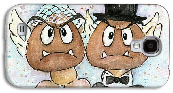 Fan Paintings Galaxy S4 Cases - Goomba Bride and Groom Galaxy S4 Case by Olga Shvartsur
