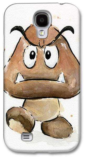 Character Portraits Galaxy S4 Cases - Goomba Watercolor Galaxy S4 Case by Olga Shvartsur