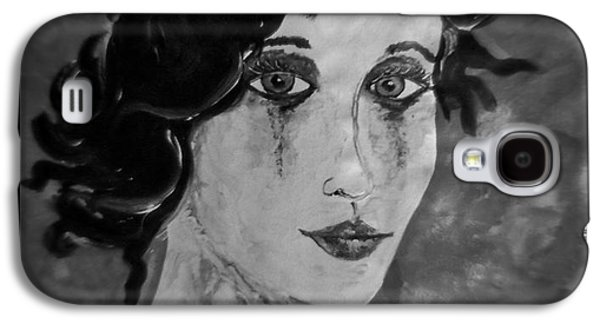 Torn Galaxy S4 Cases - Gothic Portrait of Woman Black and White Galaxy S4 Case by Laura  Carter