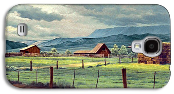 Hay Paintings Galaxy S4 Cases - Granby Ranch Galaxy S4 Case by Paul Krapf