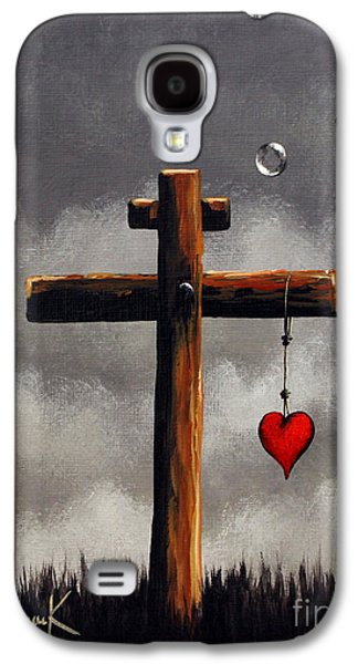 The Wooden Cross Paintings Galaxy S4 Cases - Grace Lives Here by Shawna Erback Galaxy S4 Case by Shawna Erback