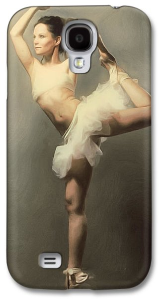 Dance Floor Paintings Galaxy S4 Cases - Graceful En Pointe Ballerina Galaxy S4 Case by Georgiana Romanovna