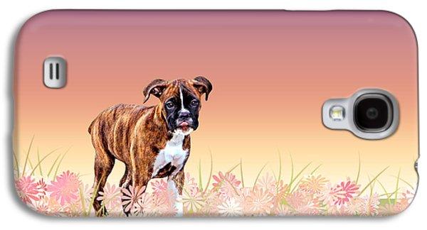 Boxer Puppy Digital Art Galaxy S4 Cases - Gracie Puppy Purple Wildflowers Galaxy S4 Case by Jamie Pflughoeft