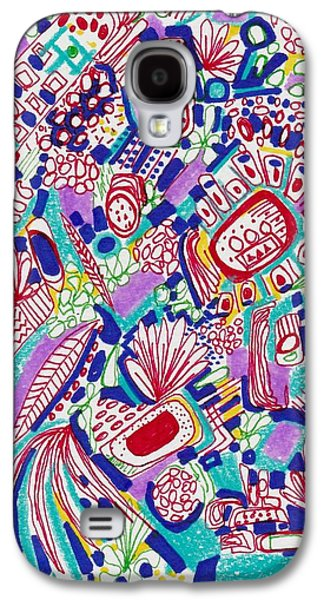 Abstract Collage Drawings Galaxy S4 Cases - Graffiti Dance Galaxy S4 Case by Rosalina Bojadschijew