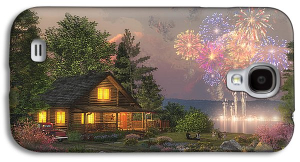 Fireworks Paintings Galaxy S4 Cases - Grand Finale Galaxy S4 Case by Randy Earles