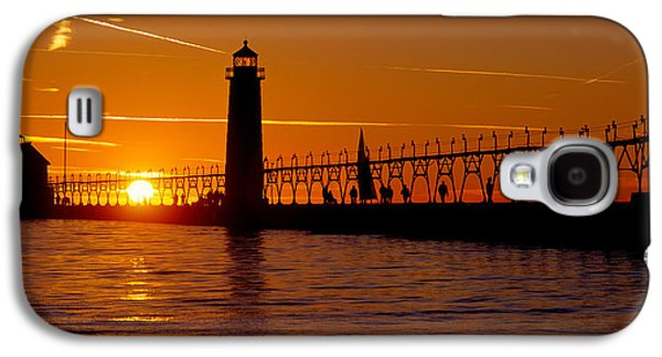 Built Structure Galaxy S4 Cases - Grand Haven Lighthouse At Sunset, Grand Galaxy S4 Case by Panoramic Images