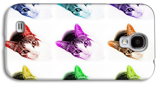 Abstract Digital Mixed Media Galaxy S4 Cases - Grand Kitty Cuteness 3 Pop Art 9 Galaxy S4 Case by Andee Design