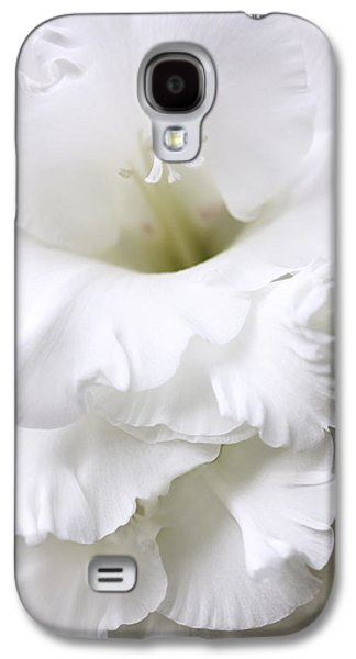 Gladiolas Galaxy S4 Cases - Grandiose White Gladiola Flower Galaxy S4 Case by Jennie Marie Schell