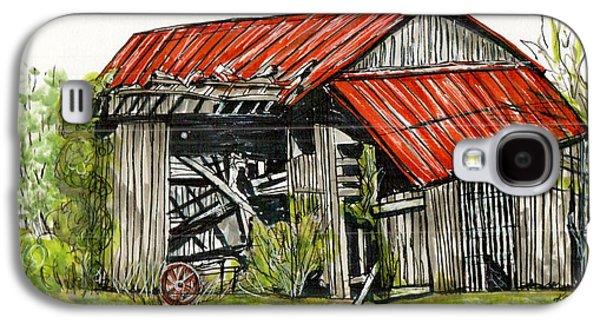 Barn Pen And Ink Galaxy S4 Cases - Grandpas Barn Galaxy S4 Case by Karen Wilson