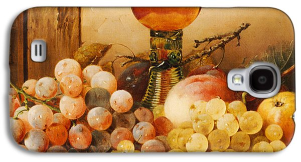 Ledge Galaxy S4 Cases - Grapes apples plums and a peach with hock glass on draped ledge Galaxy S4 Case by Edward Ladell