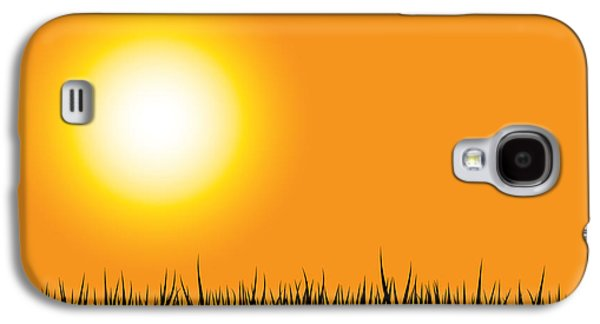 Nature Scene Digital Art Galaxy S4 Cases - Grass Silhouette Orange Galaxy S4 Case by Aleksey Tugolukov