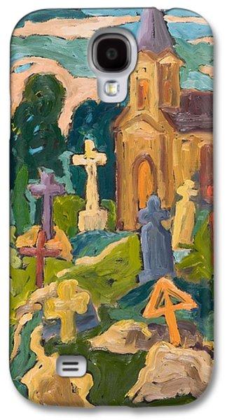 Headstones Galaxy S4 Cases - Graveyard And Chapel, 2005 Oil On Board Galaxy S4 Case by Marta Martonfi-Benke