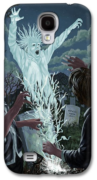 Creepy Digital Art Galaxy S4 Cases - Graveyard Digger Ghost Rising From Grave Galaxy S4 Case by Martin Davey