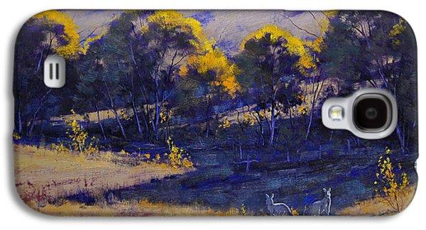 Rural Paintings Galaxy S4 Cases - Grazing Kangaroos Galaxy S4 Case by Graham Gercken