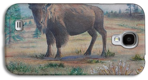 Bison Mixed Media Galaxy S4 Cases - Grazing Galaxy S4 Case by Peggy Clark