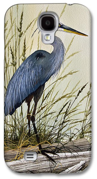 Image Paintings Galaxy S4 Cases - Great Blue Heron Splendor Galaxy S4 Case by James Williamson
