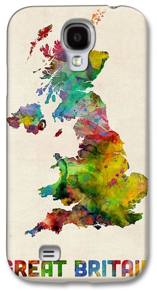 Great Britain Galaxy S4 Cases - Great Britain Watercolor Map Galaxy S4 Case by Michael Tompsett