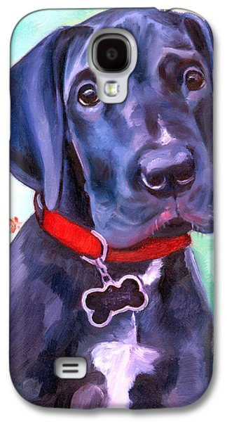 Puppies Galaxy S4 Cases - Great Dane Puppy Sweetness Galaxy S4 Case by Lyn Cook